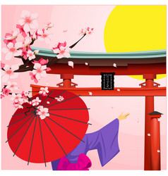 umbrella sakura japanese gate sunset background ve vector image