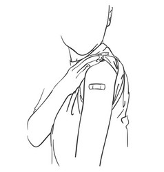 Vaccinated people drawing no face person showing vector