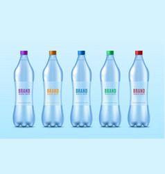 water bottles set with labels for brand identity vector image