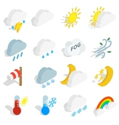 Weather icons set isometric 3d style vector