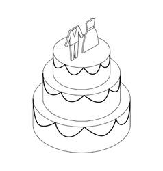 Wedding cake icon isometric 3d style vector