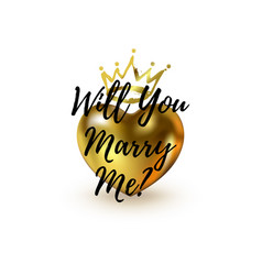 Will you marry me question 3d heart and brush vector