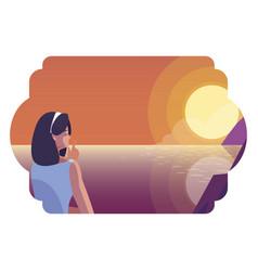 Woman contemplating horizon sky sunset scene vector