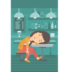 Woman sleeping in bar vector