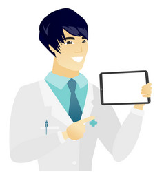 young asian doctor holding tablet computer vector image