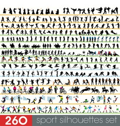 260 sport silhouettes set vector image vector image