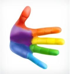 Color hand friendship symbol vector image