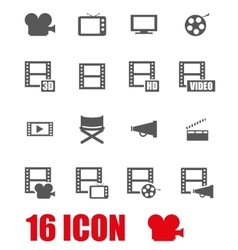 grey movie icon set vector image vector image