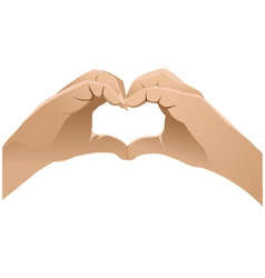 Hands shows heart symbol vector image vector image