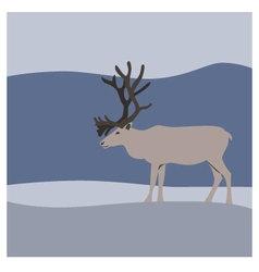 Reindeer in winter mountains vector image vector image