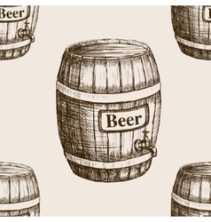 Barrel of beer sketch seamless pattern vector image