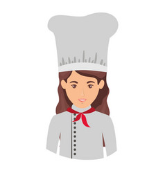 colorful portrait half body of female chef vector image vector image