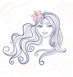 Girl with a flower vector image