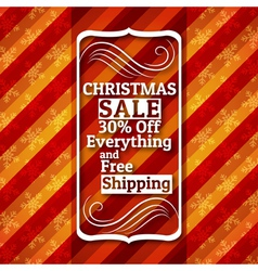 red christmas background and label with sale offer vector image vector image