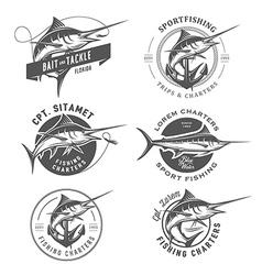 Set of marlin fishing emblems and design elements vector