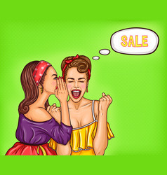 two girlfriends girls discuss upcoming discounts vector image vector image
