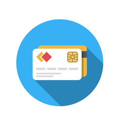 bank card icon in the circle modern way of vector image