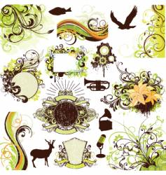 floral grunge design elements set vector image vector image