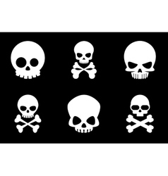 Skull and crossbones icons in cartoon style vector image vector image
