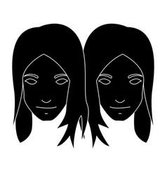 Twin girl as gemini vector