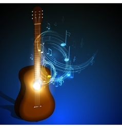 wooden acoustic guitar music concept vector image