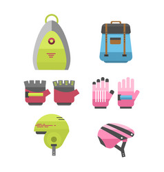Flat bicycle equipment icon rider vector