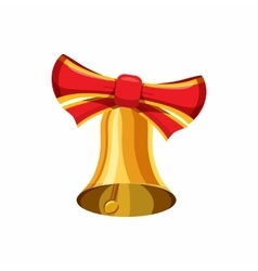 Gold bell with red bow icon cartoon style vector image vector image