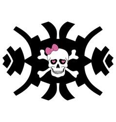 Hipster skull design for girls vector image vector image