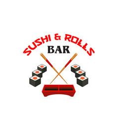 icon of sushi bar japanese cuisine vector image vector image