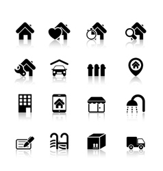 Real Estate Icons with reflection vector image