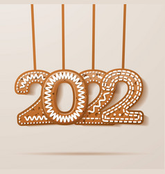 2022 greeting card with glazed text in cookie vector