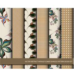Abstract vintage flower seamless pattern set vector
