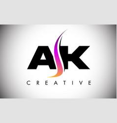 Ak letter logo design with creative shoosh vector