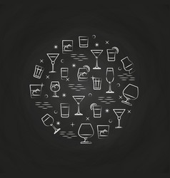 Alcoholic drinks icons on chalkboard vector