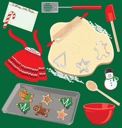 baking christmas cookies vector image