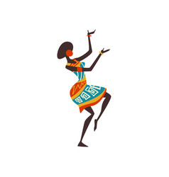 Beautiful african woman dancing female aboriginal vector
