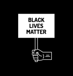 black lives matter poster with fist and vector image
