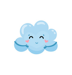 blue cloud with little hands charming face and vector image
