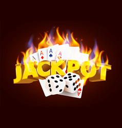 Burning casino poker cards and dices online vector