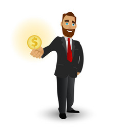 business man holding a gold coin a symbol of vector image