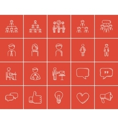 Business sketch icon set vector image