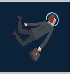 businessman in black suit and astronaut helmet vector image