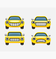 car emoticon yellow smiles vector image