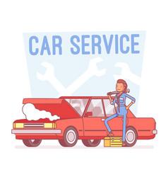 car service center lineart concept vector image