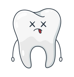 cartoon white tooth dentistry and healthcare vector image