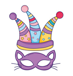 Cat mask and jester hat vector