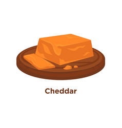 Cheese cheddar sort flat isolated slice vector