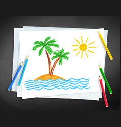 Child drawing of palm trees vector