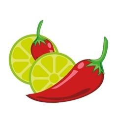 Chili peper and lemon vector