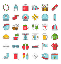 chirstmas related filled style icon set editable vector image